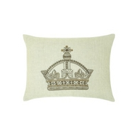 Henry Crown Embroidered Cream Cushion