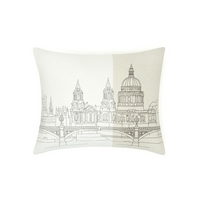 City Scape Embroidered Natural Cotton Cushion