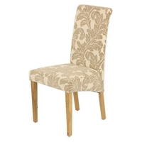 Scroll back Fabric Dining Chair with Oak Legs (Champagne)