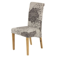Scroll back Fabric Dining Chair with Oak Legs (Grey)