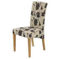 Scroll back Fabric Dining Chair with Oak Legs (Floral)