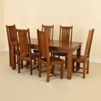 "Baku Teak Mango 5ft 6"" x 2ft 7"" Dining Table + 6 Teak Mango Chairs"