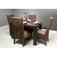 "Mantis Dark Solid Mango 4ft x 2ft 8"" Dining Table + 4 Dark Highback Grass Chairs"