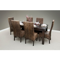 "Baku Dark Solid Mango 5ft 6"" x 2ft 7"" Dining Table + 6 High Back Dark Grass Chairs"