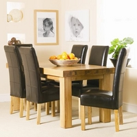 Contemporary Oak Thick Top Dining Set (6 Leather Chairs)