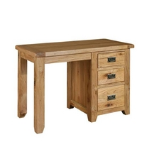 Reclaimed Oak Dressing Table - Single Pedestal