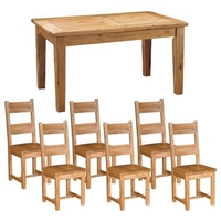 Reclaimed Oak Large Dining Set + Wooden Chairs