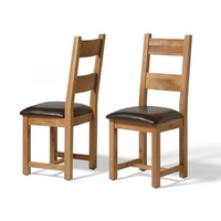 Vancouver Oak Leather Seat Dining Chair