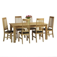 Contemporary Oak Dining Set (150cm + 6 chairs)