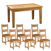 Reclaimed Oak Dining Set + Wooden Chairs