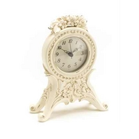 Cream Decorative Floral Mantel Clock