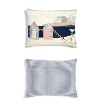 Beach Hut Blue applique Cotton Cushion