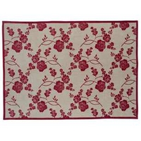 Marciana Red  Cream Floral Cotton Rug