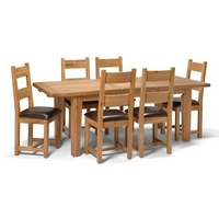 Vancouver Oak Large Dining Set (6 Chairs)
