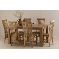 Havana 6ft x 3ft Solid Oak Dining Table + 6 Solid Oak Chairs