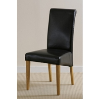 Scroll back Leather Dining Chair with Oak Legs (Black)