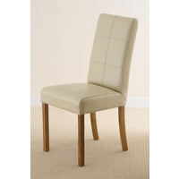 Stitch back Leather Dining Chair with Oak Legs (Cream)