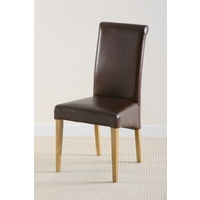 Scroll back Leather Dining Chair with Oak Legs (Brown)