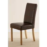 Stitch back Leather Dining Chair with Oak Legs (Brown)