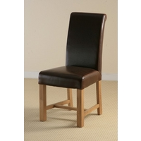 Braced Scroll back Leather Dining Chair with Oak Legs (Brown)