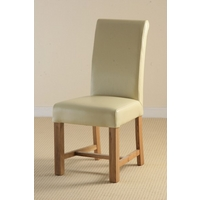Braced Scroll back Leather Dining Chair with Oak Legs (Cream)