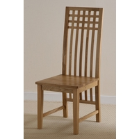 Solid Oak Lattice Back Dining Chair