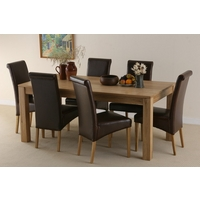 Dakar Solid Oak 6ft x 3ft Dining Table + 6 Scroll Back Leather Chairs
