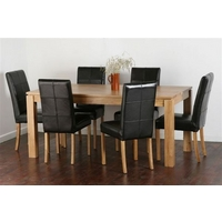 "Galway 6ft x 2ft 8"" Solid Oak Dining Table + 6 Black Leather Stitch Back Chairs"