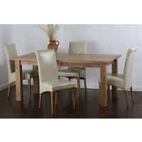 Solid Oak 6ft x 3ft Dining Table + 4 Cream Scroll Back Leather Chairs