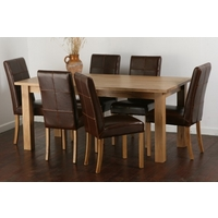 Solid Oak 6ft x 3ft Dining Table + 6 Brown Stitch Back Leather Chairs