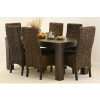 Mantis Dark Solid Mango 6ft x 3ft Dining Table + 6 Dark Highback Grass Chairs