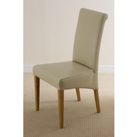 Scroll Back Leather Dining Chair with Oak Legs (Cream)