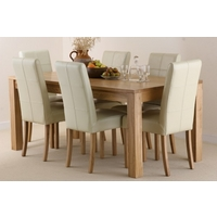 Oakdale Solid Oak 6ft x 3ft Dining Table + 6 Stitch Back Leather Chairs