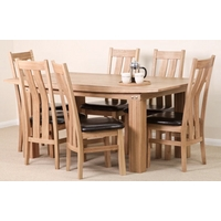 Tokyo Solid Oak 6ft x 3ft Dining Set + 6 Solid Oak and Leather Dining Chairs