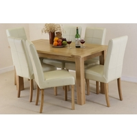 "Newark 5ft x 2ft 8"" Oak Dining Set + 6 Cream Leather Stitch Back Chairs"