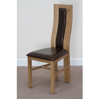 Curved Back Leather and Solid Oak Dining Chair