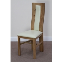 Curved Back Solid Oak and Cream Leather Dining Chair